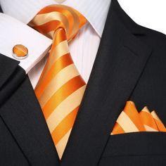 Orange and Beige Striped Necktie Set JPM18A94