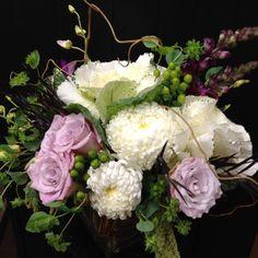 Ornamental kale, lavender roses, china mums