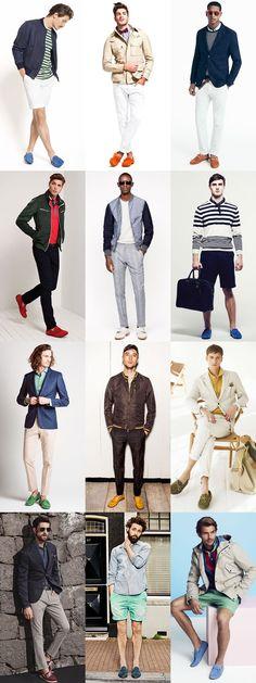 Men's 2014 Spring/Summer Fashion Trend: Pop-Colour Slip-Ons & Loafers Footwear Lookbook Inspiration