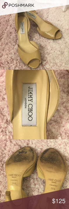 "🎉 Jimmy Choo Nude Logan D'Orsay Peep Toe Heel Used, but great condition and a lot of life left. The heels studs are new. A few stains on the shoe as pictured. Nude patent leather. 3 1/2"" heel. I had heel stickers on the back for comfort that I removed (as pictured). Jimmy Choo Shoes Heels"