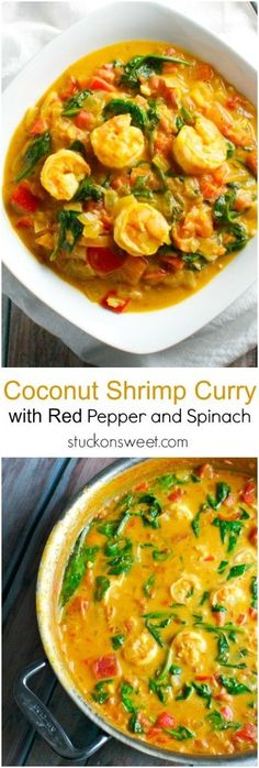 Coconut Shrimp Curry with Red Pepper and Spinach This recipe is healthy and perfect for dinner Plus it has tons of flavor Fish Recipes, Seafood Recipes, Indian Food Recipes, Vegetarian Recipes, Cooking Recipes, Healthy Recipes, Indian Shrimp Recipes, Recipes Dinner, Chicken Recipes
