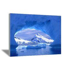 Paradise Harbour from iceberg cave, Antarctica Canvas Art