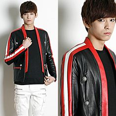 Remember Click Piped Leather Blazer BLACK S M Korean Wear #RememberClick #BasicJacket