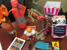 Handout ideas along with Free Pintables for a Sport Themed Teacher Appreciation Week.