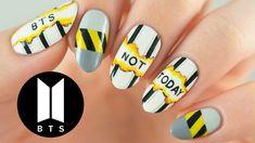 """korean nail art BTS """"Not Today"""" Nail Art Tutorial Trendy Nail Art, Nail Art Diy, Easy Nail Art, Cool Nail Art, Simple Nail Art Designs, Best Nail Art Designs, How To Do Nails, Fun Nails, Korea Nail Art"""