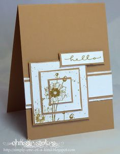 handmade card ... Triple Time Stamping  technique ... kraft ... like the focal panel with the technique rather than the whole card ...