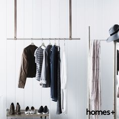 This #DIY #timber and #leather #clothes #rack is #strong, #durable and #extremely hard-wearing. As featured in the May 2015 issue of homes+. #shoes #jacket #shirt #jumper #scarf #hat #bedroom #accessories #interior #design #homesplusmag
