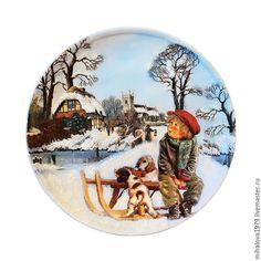 Купить Декоративная тарелка «На прогулке» - тарелка, Тарелка декоративная, тарелка сувенирная, тарелка декупаж