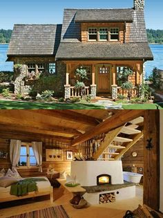 Porch idea as the roofs are staggered like ours. - Porch idea as the roofs are staggered like ours. Cabins In The Woods, House In The Woods, Log Cabin Homes, Log Cabins, Cabins And Cottages, Dream House Exterior, My Dream Home, Future House, Tiny House