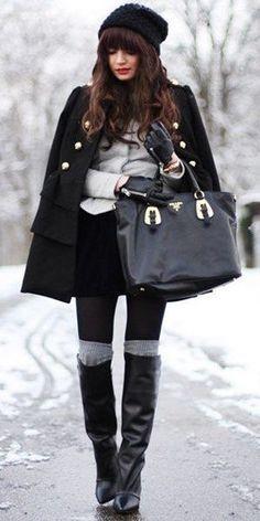 #winter #fashion / knit layers + leather