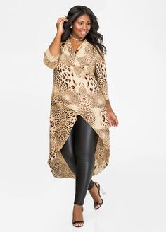 032debf216d Leopard Surplice Hi-Lo Duster Leopard Surplice Hi-Lo Duster Faux Leather  Leggings