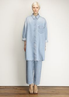 MM6 Maison Martin Margiela Denim Shirt Dress (Blue)