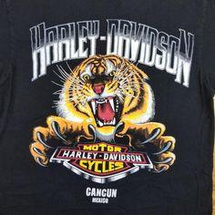 Vintage Tiger Harley Davidson Motorcycle Biker Black T Shirt Big Tiger, Harley Davidson Dealership, Dallas Cowboys Logo, Tiger Shirt, Biker, Vintage Items, Motorcycle, Black, Etsy