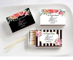 "Personalized Black and White Matches (Set of 50) (Kate Spade Inspired) -- Exquisite design perfect for bridal showers or weddings!! In addition to ""The Perfect Match"" you can say, ""Jennifer's Bridal Shower"" or Mark & Eileen's Anniversary"" and exclude the date."