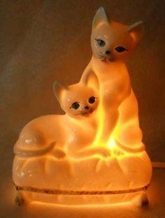 Cat Lamp Vintage White Porcelain KITTY KITTENS Night Light Glowing Blue Eyes