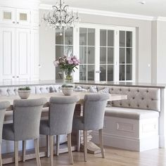Curved cabinetry triple buttoned banquette seating and glazed internal doors Banquette Seating In Kitchen, Kitchen Benches, Dining Nook, Booth Seating In Kitchen, Built In Dining Room Seating, Dining Chairs, Dining Table, Kitchen Booths, Kitchen Nook