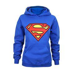 Buy Stylish Hooded Long Sleeve Cartoon Superman Shield Logo Superhero Hoodie For Women at Wish - Shopping Made Fun Hoodie Sweatshirts, Logo Hoodies, Hooded Long Sleeve Shirt, Long Sleeve Shirts, Superman Shirt, Superman Logo, Superman Outfit, Blue Long Sleeve Tops, Sports Hoodies