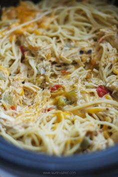 If you love creamy, spicy pasta dishes, this Crock-Pot version of my Cheesy Chicken Spaghetti will blow your mind. Cook the sauce for a few hours and then toss with pasta when you're ready to serve!