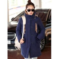 $33.20 Ladylike Style Solid Color Single-Breasted Long Sleeves Cotton Blend Coat For Women