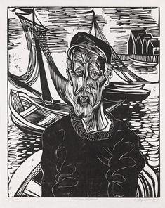 Fischer von Helgoland, 1924 by Conrad Felixmüller, (German 1897-1977). Woodcut