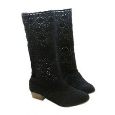 $15.69 Casual Women's Boots With Korean Style Openwork Design