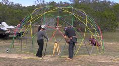 Geodesic Dome : Step by step instructions, video and photos- How To Build a 19' 268 Sq ' Geodome that can be used as a greenhouse, garage or living space.