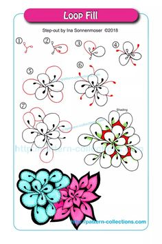 Drawing Tutorial Loop Fill by Ina Sonnenmoser - Zentangle Drawings, Doodles Zentangles, Doodle Drawings, Doodle Art, Mandala Pattern, Zentangle Patterns, Zen Doodle Patterns, Tangled Flower, Zantangle Art