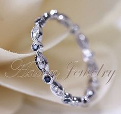 14k White Gold Blue Sapphires & Diamonds Ring/ Band Art Deco Full Eternity Band / Wedding Ring/ Promise Ring/ Engagement Ring