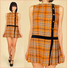 ViNtAgE 60's MoD Plaid Schoolgirl MiNi Dress Drop Waist Velvet Trim Copper Penny Buttons. $158.00, via Etsy.
