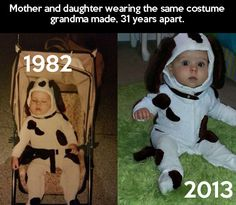 Mom and daughter wearing the same homemade costume, years apart
