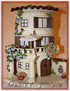 Tile ispiration Paper Napkins For Decoupage, Plastic Bottle Crafts, Clay Houses, Brick Design, Fairy Garden Houses, Clay Tiles, Roof Tiles, Decorative Tile, Cold Porcelain