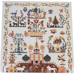 Cooper-Hewitt Smithsonian Institution Museum Cross Stitch Sampler Kit Stamped Linen by NeedleLittleTherapy on Etsy