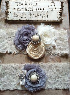 ivory garter  / bridal  garter / grey and ivory garter /  lace garter / toss garter / wedding garter / vintage inspired lace garter. $30.99, via Etsy.