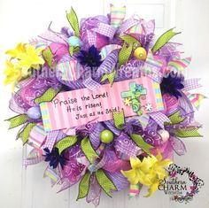 Deco Mesh EASTER Wreath He Is Risen Sign Lavender Pink Eggs Door Wreath by www.southerncharmwreaths.com sOLD #decomesh #easter #wreath