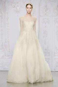 Monique Lhuillier illusion-sleeve wedding dress