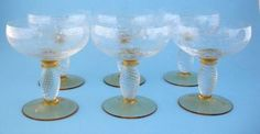 6 Theresienthal Crystal Twisted Stem Amber THE7 Champagne Sherbet Glasses | eBay