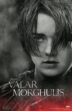 Póster Arya Stark, Valar Morghulis. Juego de Tronos Decora tu habitación con este póster con la imagen de Arya Stark, basada en la cuarta temporada de la serie Juego de Tronos.