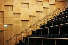 Key Ply used in a lecture theatre in Wollongong NSW, a combination of perforated plywood panels and slotted panels to give acoustic performance as well as a great aesthetics. Outdoor Plywood, Plywood Siding, Plywood Panels, Exterior Wood Siding Panels, Timber Feature Wall, Feature Walls, Plywood Suppliers, Auditorium Design, Arquitetura