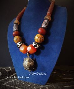 ETHNO ARTISAN, Designer necklace made with African Trade beads, Bone, Resin Amber. Ethnic Ethiopian bicone. Tribal. Carnelian Retro. artisan by Timbuktugallery on Etsy