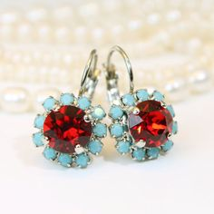 Turquoise red Earrings, Aqua red Drop Crystal earrings Halo Earrings Red Blue swarovski rhinestones Crystals Silver finish,Light Siam,SE96
