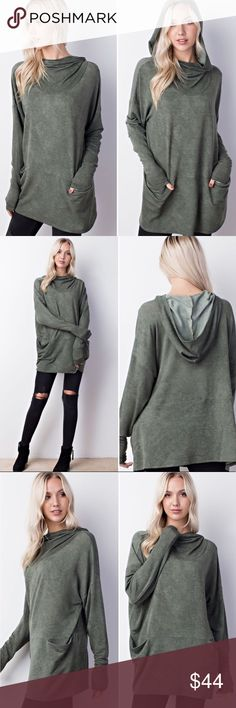 Sandwashed Cowl Neck Hoodie in Olive New with tags Can also fit a medium  ▪️Price is firm unless bundled. Tops Sweatshirts & Hoodies