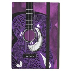 Such a funky design with a zen tangle style patterned guitar in shades of purple, black and white. A modern trendy iPad Air case giving great protection for your gadget, idea for a music lover.