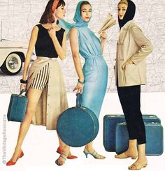 Vintage Koret of California 60s vintage fashion style blue sheath dress pants play suit jacket black tan models magazine photo print ad