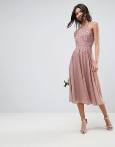 16383975417 ASOS WEDDING Lace Applique Cami Midi Dress - Beige Shopping Outfits