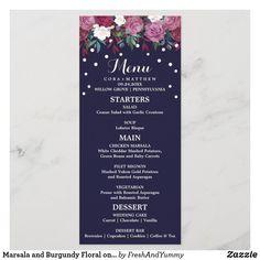 Marsala and Burgundy Floral on Navy Wedding Menu Wedding Dinner Menu, Wedding Menu Cards, Wedding Reception, Romantic Flowers, Wedding Confetti, Wedding Desserts, Burgundy Wedding, Rehearsal Dinners, Marsala