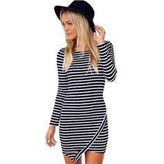 Black Long Sleeve Slim Striped Bodycon Dress | pariscoming