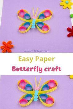 Easy paper butterfly craft for kids. Fun summer craft idea for preschoolers, kindergarteners and elementary school kids. Perfect as a wall decor craft in classrooms and kids' rooms. Easy crafts for kids
