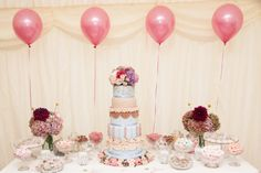 Vintage Wedding Sweet Table created and styled by www.villadolce.co.uk (cake replica of Olofson Design)