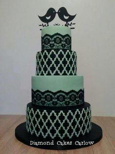 Black and Green Wedding Cake by DiamondCakesCarlow - http://cakesdecor.com/cakes/293021-black-and-green-wedding-cake