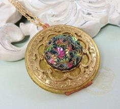 Tapestry Locket Pendant Necklace Flower by dfoxjewelrydesigns